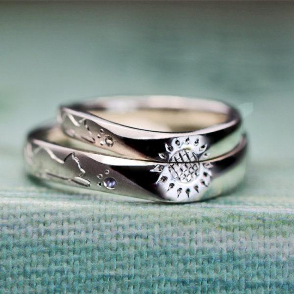 ねこと太陽を手彫りでデザインしたオーダーメイドのプラチナ結婚指輪 2