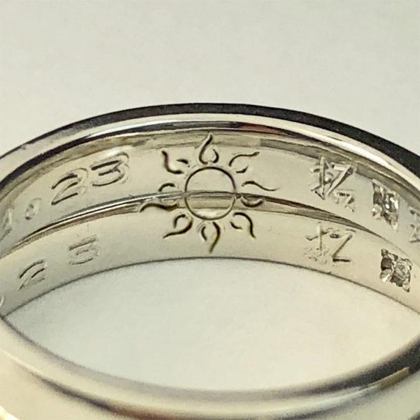 指輪の内側の太陽の柄デザイン