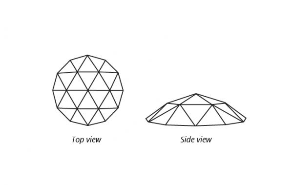 ローズカットダイヤモンドは、丸く平らなベー  スで、上部は多面体でドーム状になっている