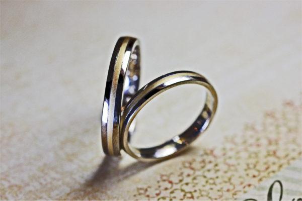 ゴールドとプラチナのコンビカラーの結婚指輪をオーダーメイド