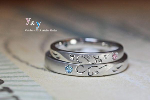 10周年の結婚指輪にイニシャルYとYでハートをつくる G様千葉・柏
