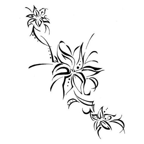 ユリの花のトライバル柄デザイン