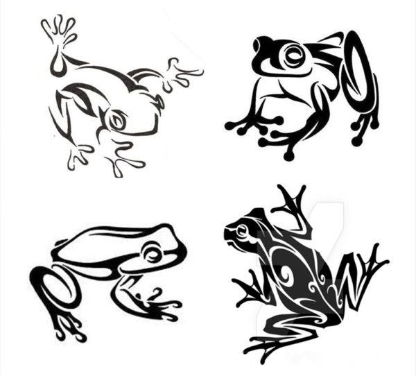 カエルのトライバル柄のデザイン画