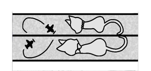 2匹のネコが描かれているデザインラフ画