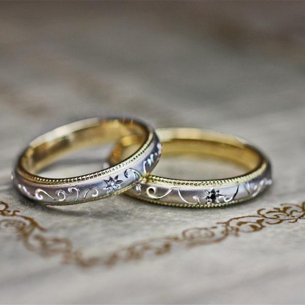 ブラック&ホワイトダイヤを星にデザインした結婚指輪オーダーメイド