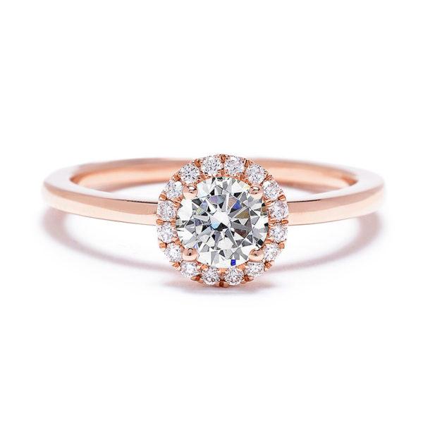 ピンクゴールドの婚約指輪、ヘイロースタイルデザイン