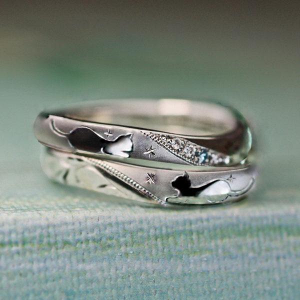 ロミオとジュリエットのネコたちを描いた結婚指輪オーダーメイド作品