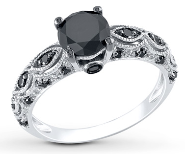 ブラックダイヤモンドを留めたプラチナリング