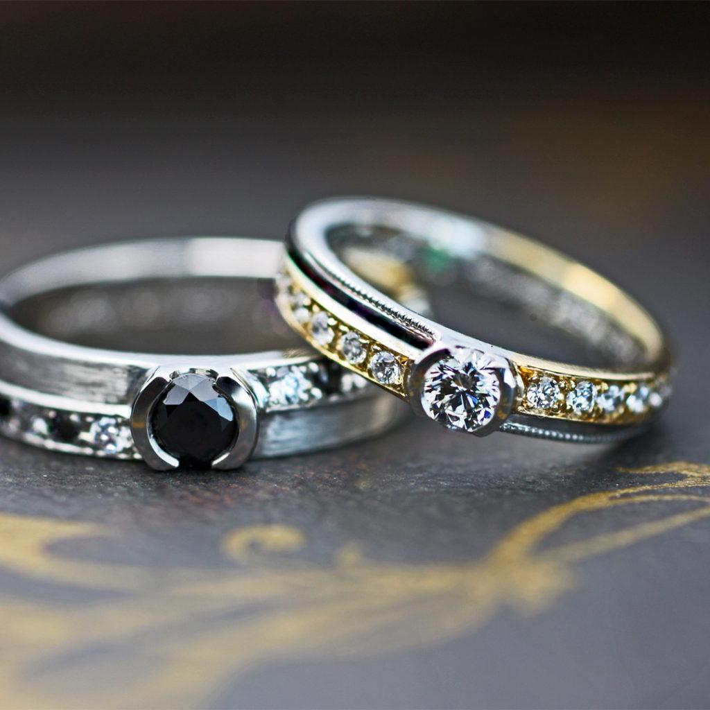ブラックダイヤとホワイトダイヤのエタニティ結婚指輪•オーダー作品