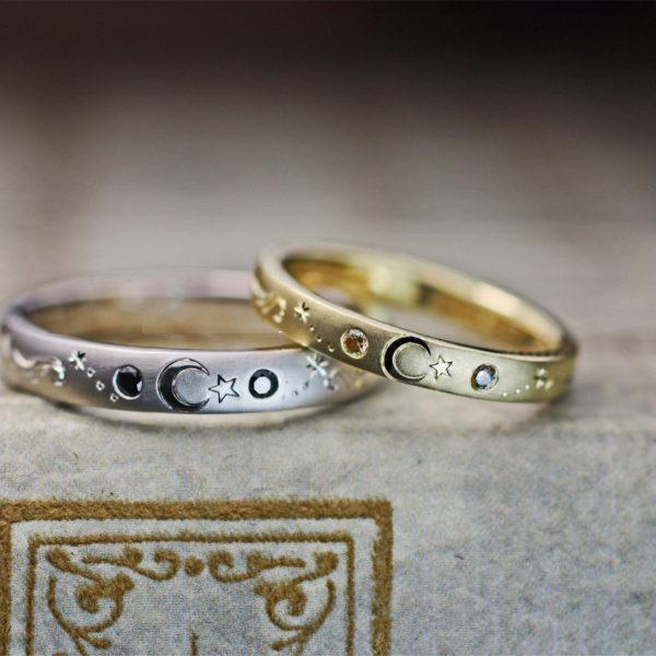 トルコ国旗の月と星の模様を結婚指輪に描いたオーダーメイド作品