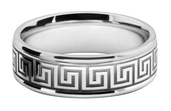 アンティーク模様をレーザー彫刻したメンズの結婚指輪オーダーメイド