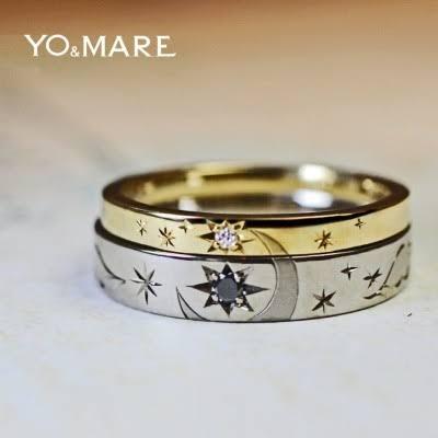 結婚指輪2本で月と星の柄をつくるオーダーメイドリング