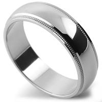 リング両サイドの段差面にミルラインが入った鏡面仕上げの指輪