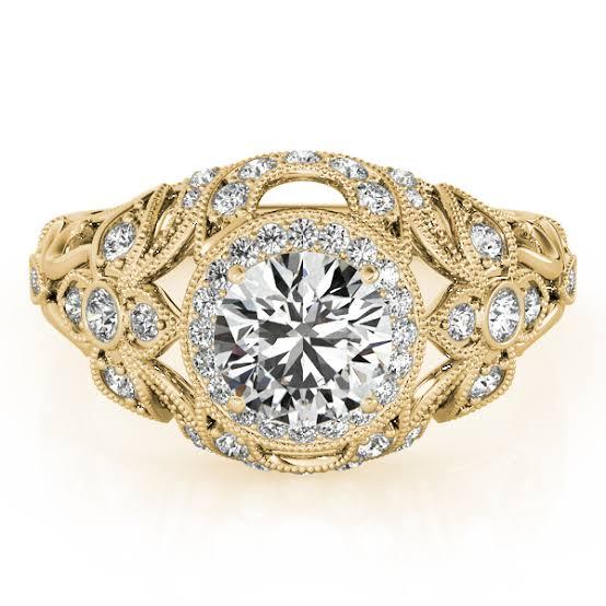 アンティークゴールドとミルデコレーションのダイヤモンド婚約指輪