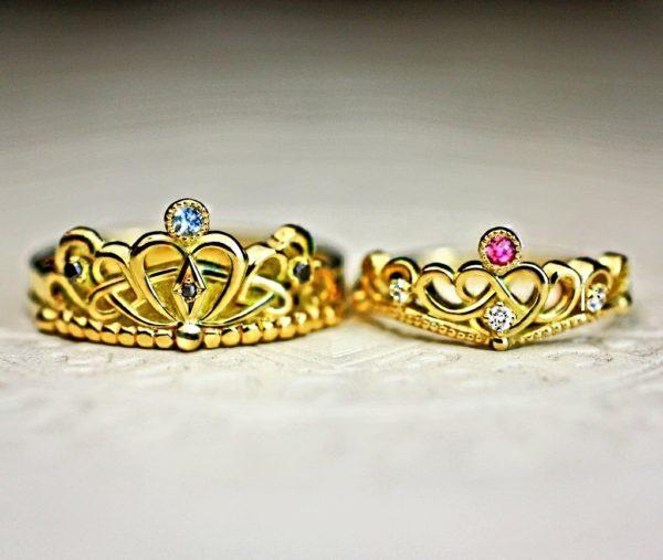 ゴールドティアラのオーダーメイド結婚指輪・キング&クイーン