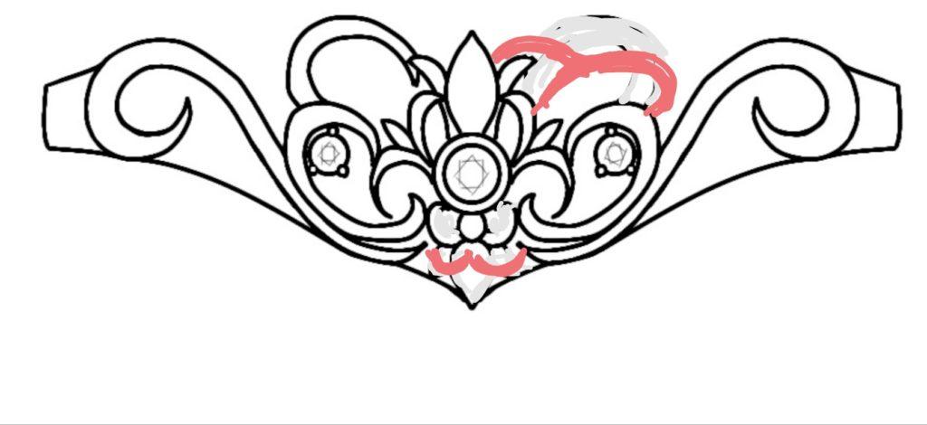 結婚指輪レディスリングのデザイン画の修正部分