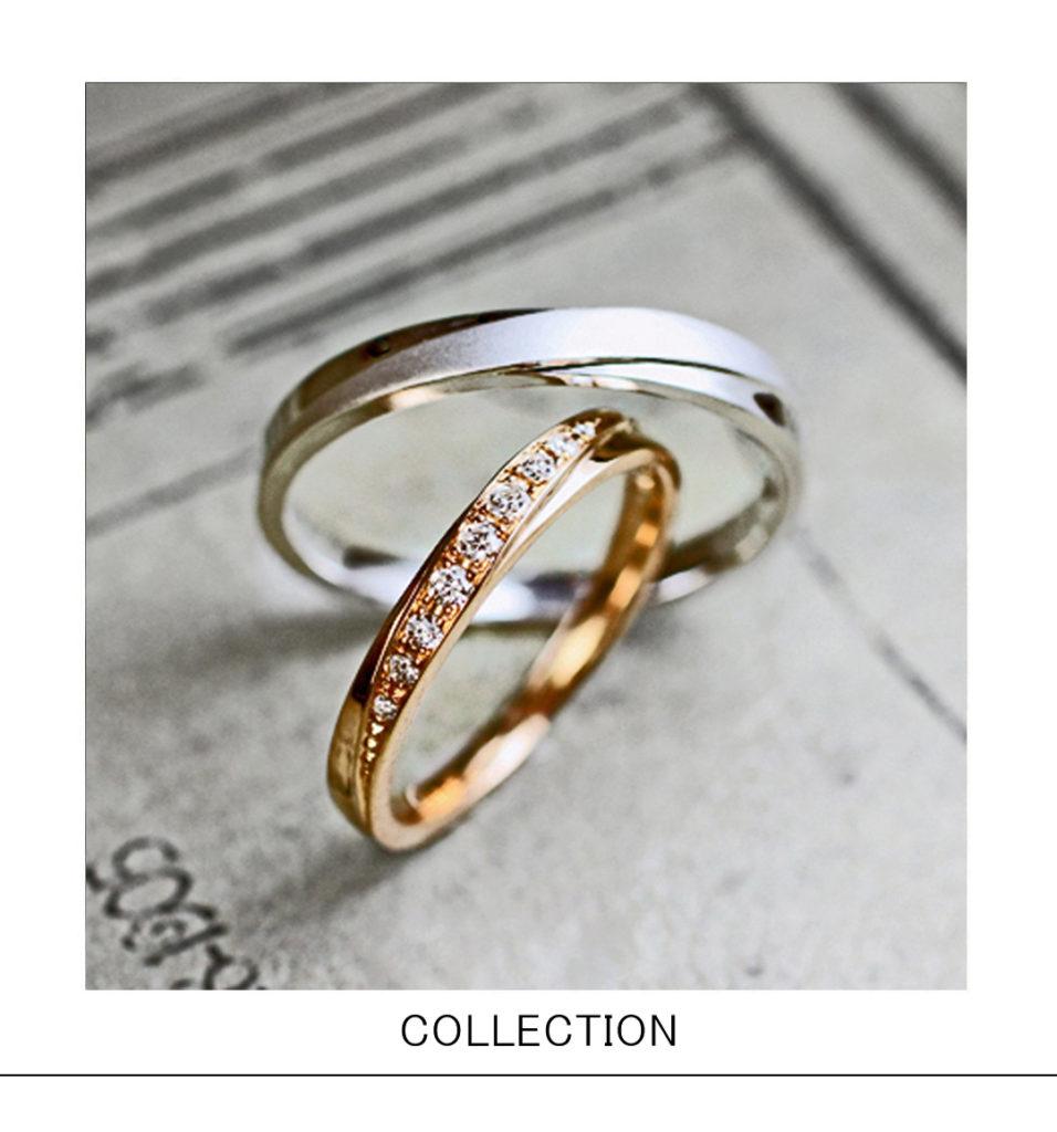 オリーブリーフ(葉)モチーフの ピンクゴールド&グレーゴールド 結婚指輪コレクション
