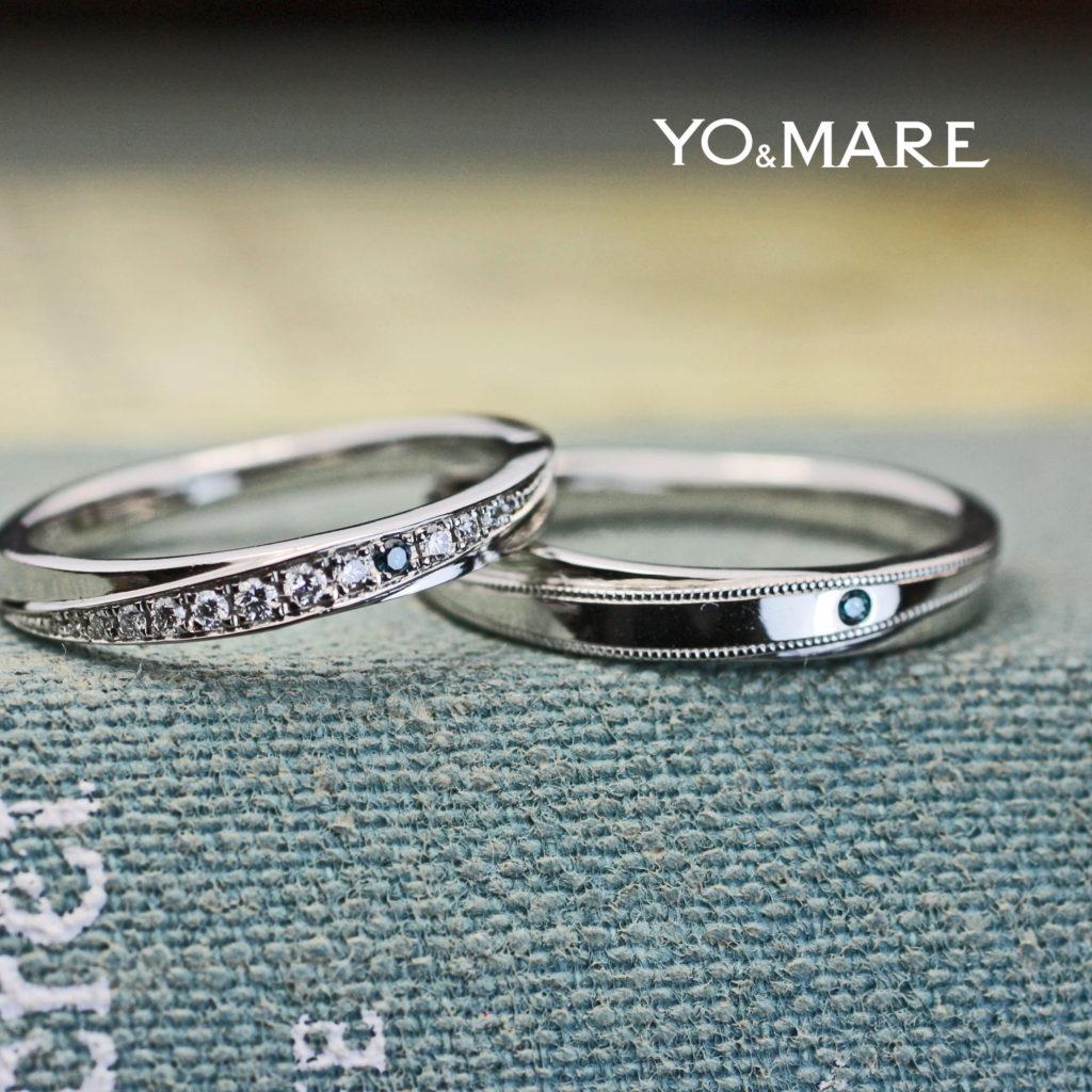 ブルーダイヤとミルグレインをアクセントにオーダーした結婚指輪