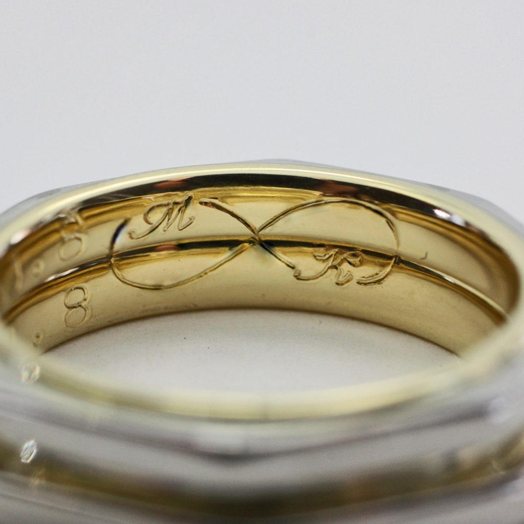 八角形の結婚指輪の内側にふたりのオリジナルマークを入れたオーダー作品
