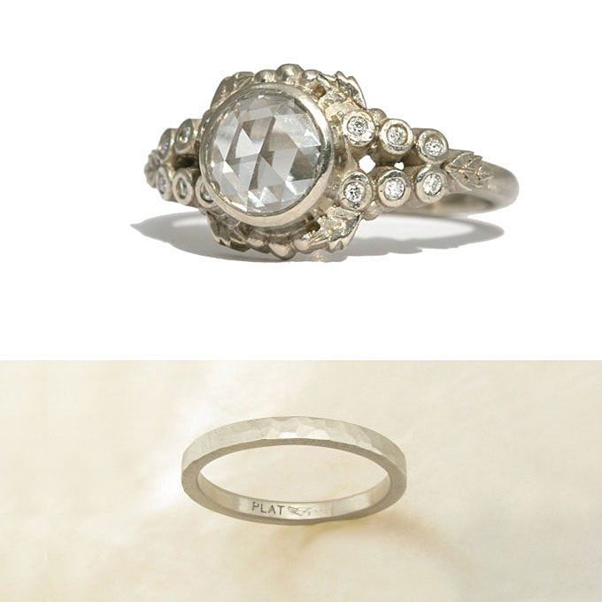 ーガニックデザインの婚約指輪とセットする結婚指輪