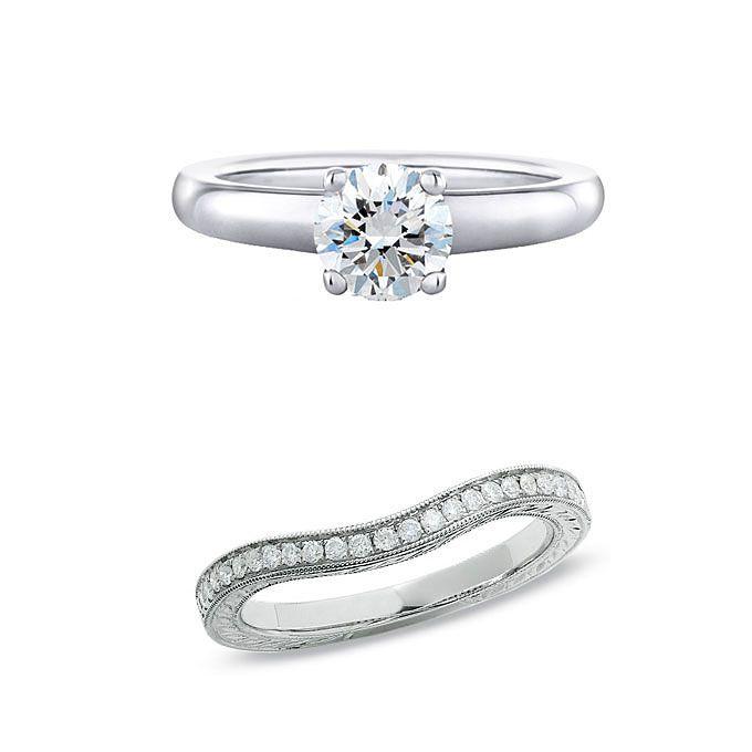 .婚約指輪がシンプルなソリティアとのセットリングをつくる結婚指輪