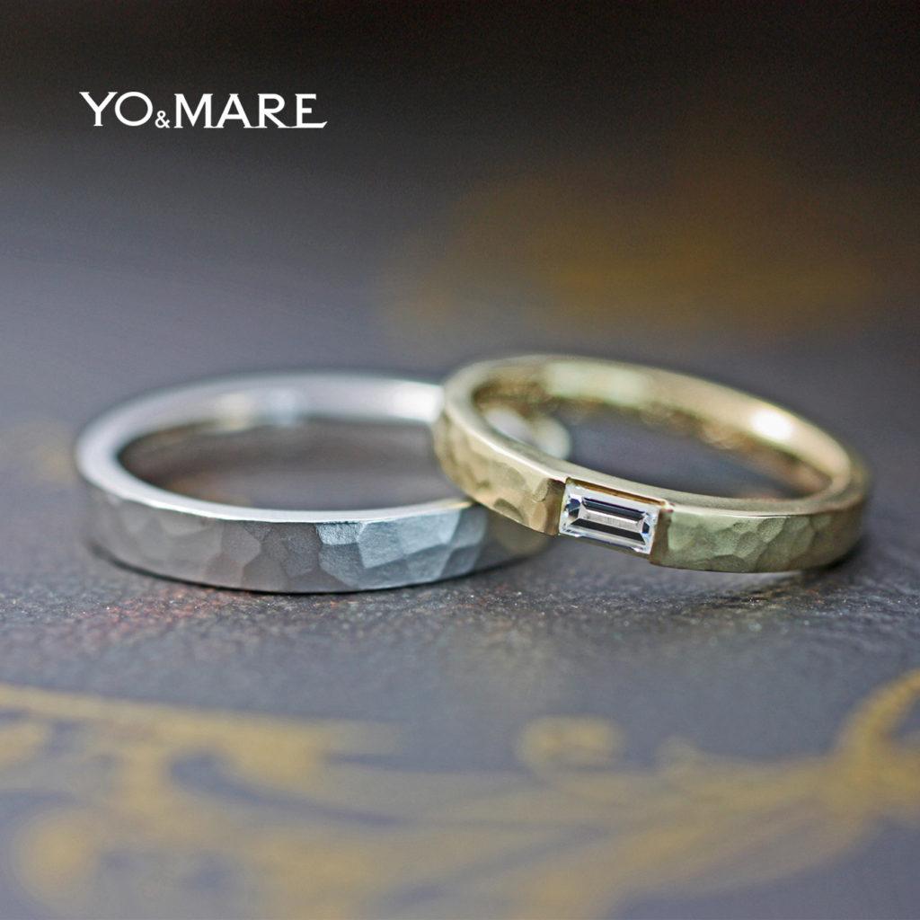 長方形のダイヤをツチメのゴールド結婚指輪に入れたオーダー作品