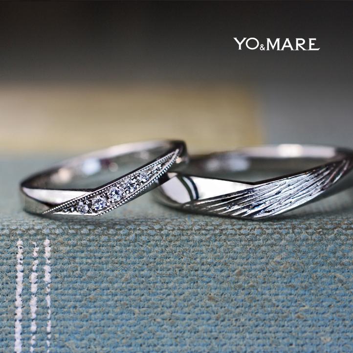 ダイヤ&テクスチャーをデザインしたVラインの結婚指輪オーダー作品