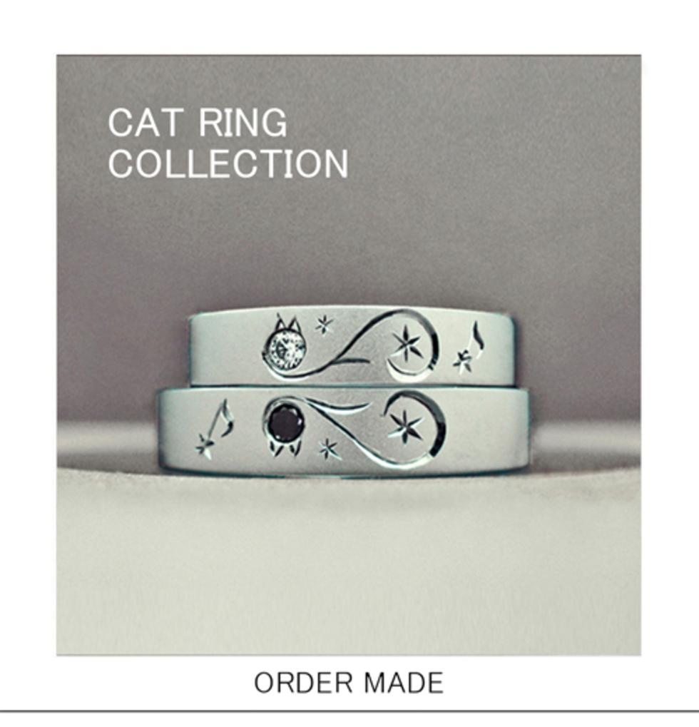 ネコのデザインでオーダーメイドされた結婚指輪