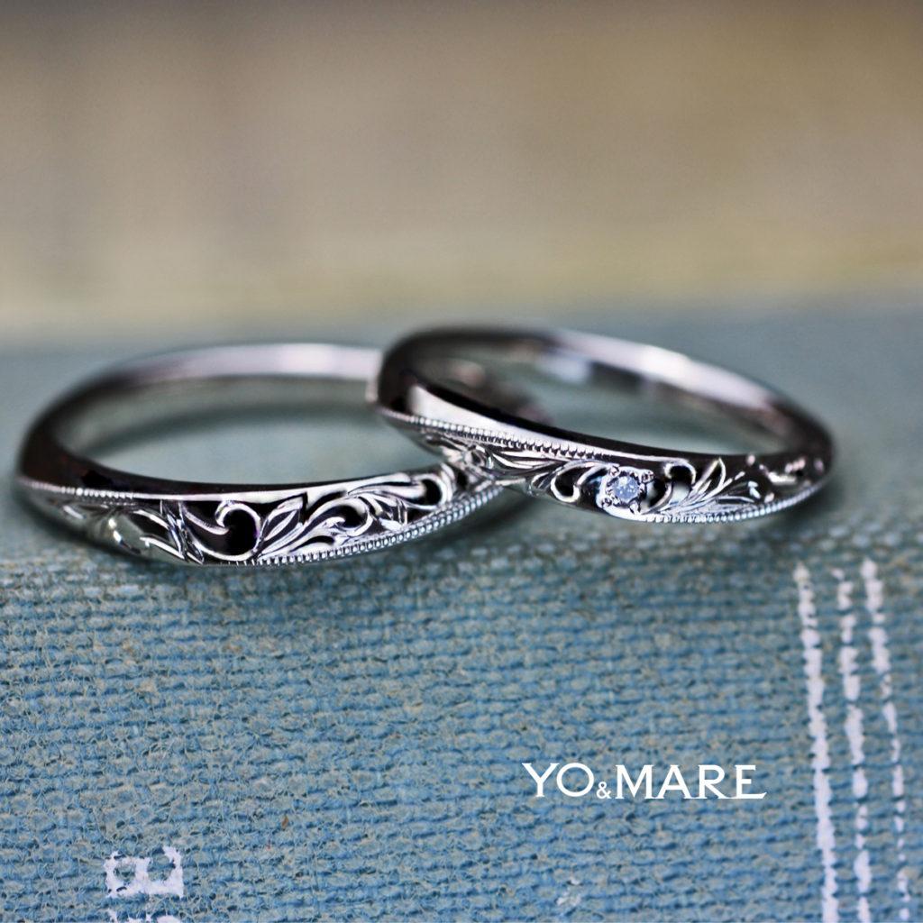 ハワイアン柄とブルーダイヤを細い結婚指輪に入れたオーダー作品