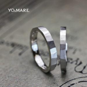 多面体の結婚指輪に艶消しマット加工を施したツチメのオーダー作品