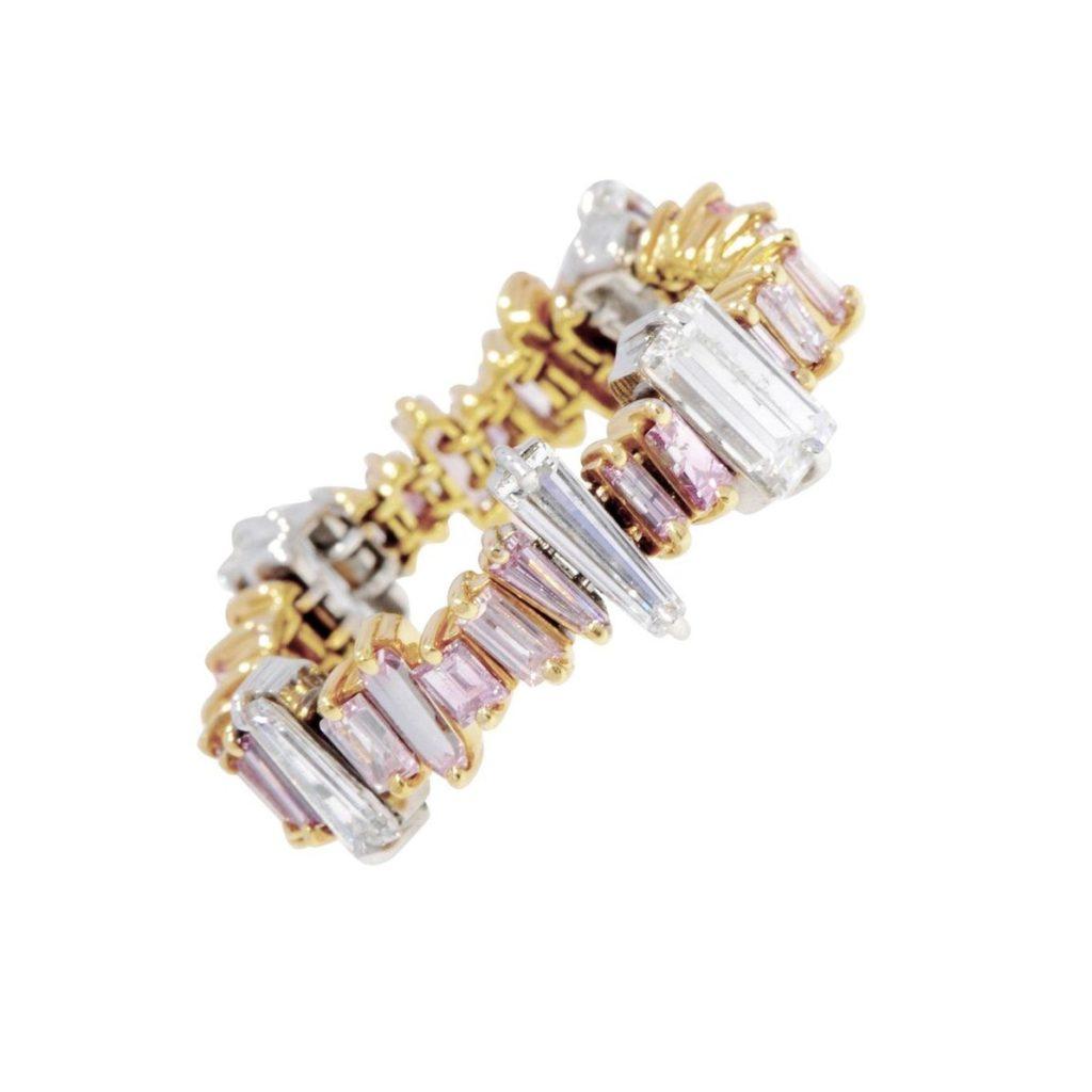 .シャロンカザム・白&ピンクのバゲットダイヤをランダムに留めたエタニティリング