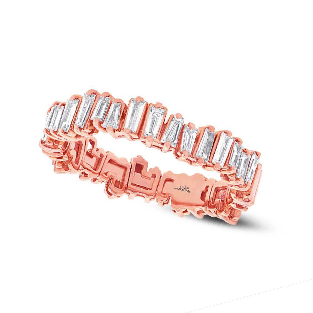 アリューレス・0..6カラットのバゲットダイヤが留まったピンクゴールド結婚指輪