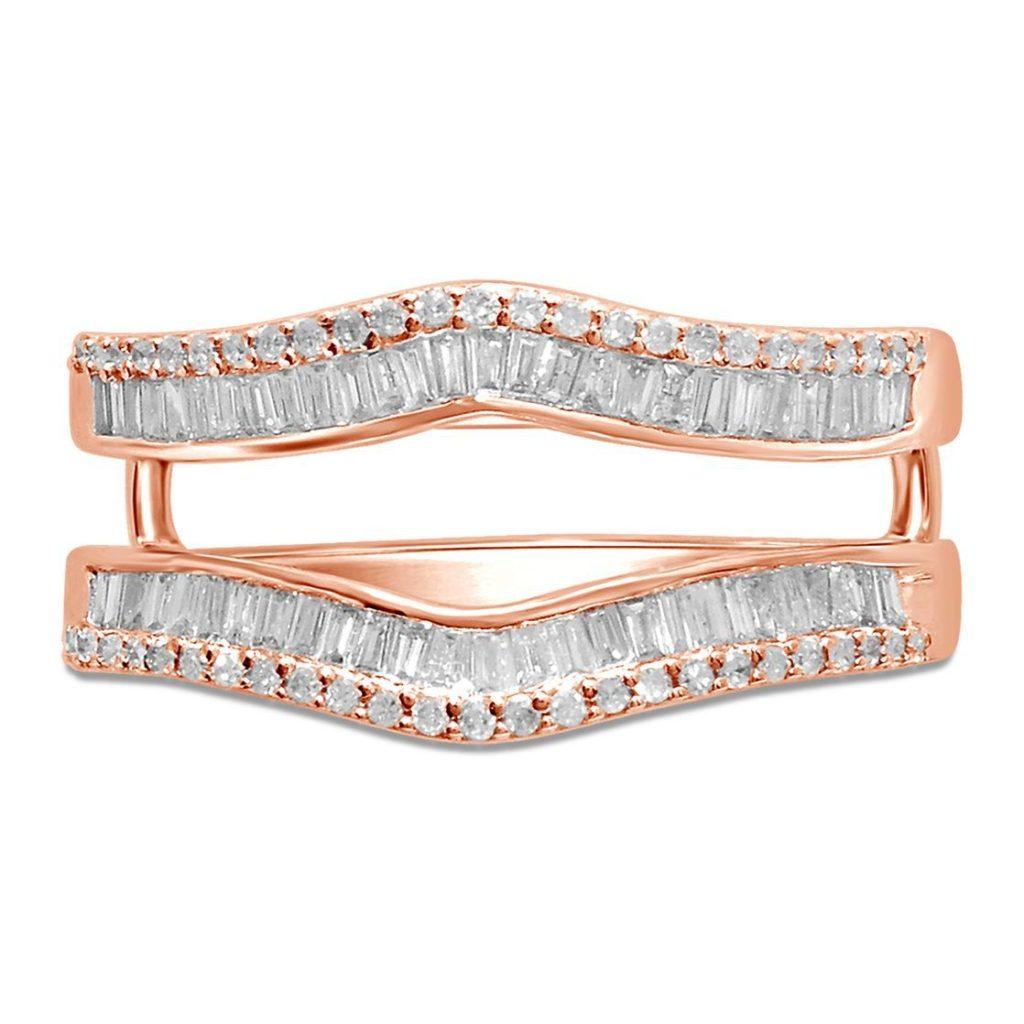 ヘルツバーグ・0.5ctのバゲットダイヤが留まった 14Kピンクゴールドの結婚指輪