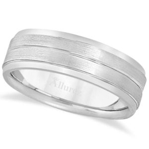 Allurez • パラジウムの彫刻結婚指輪