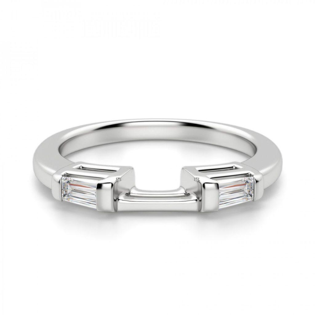 ダイヤネクサス・バゲットダイヤが2ピースデザインされた結婚指輪