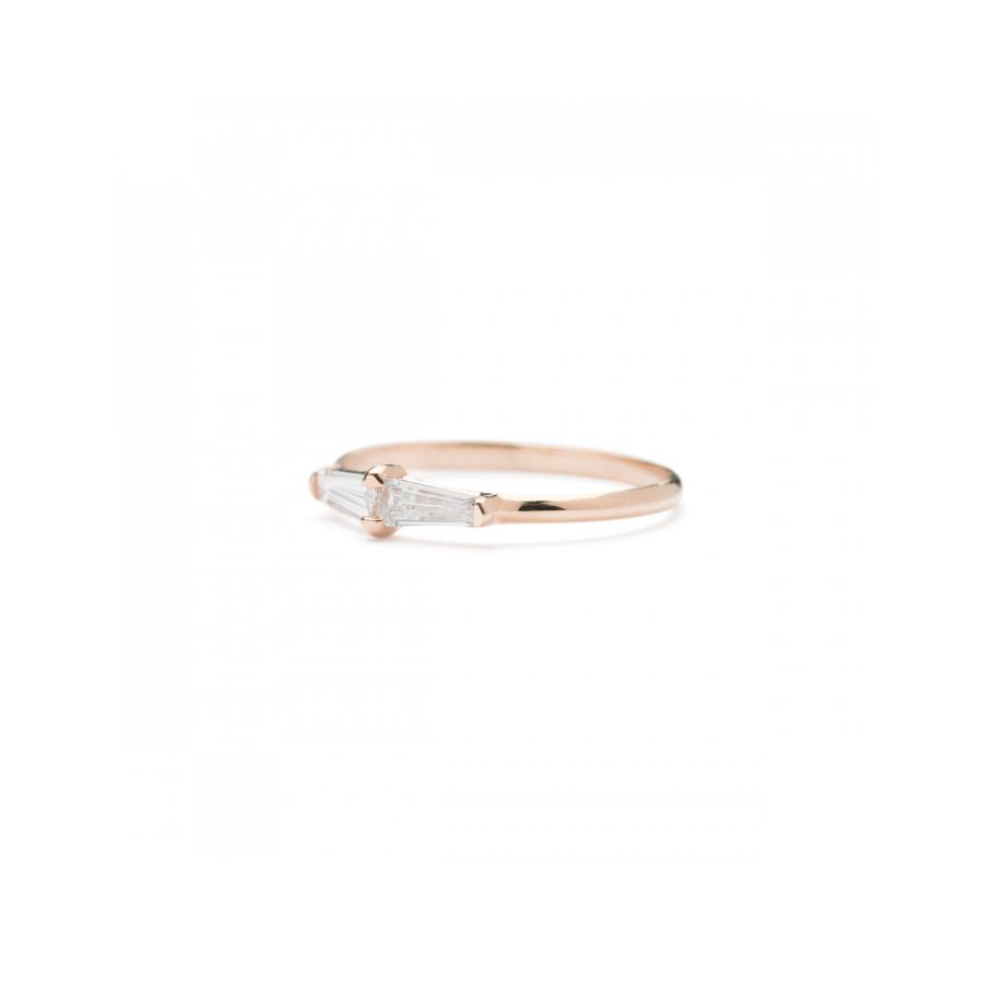 ILA・ピンクゴールドとバゲットダイヤの結婚指輪