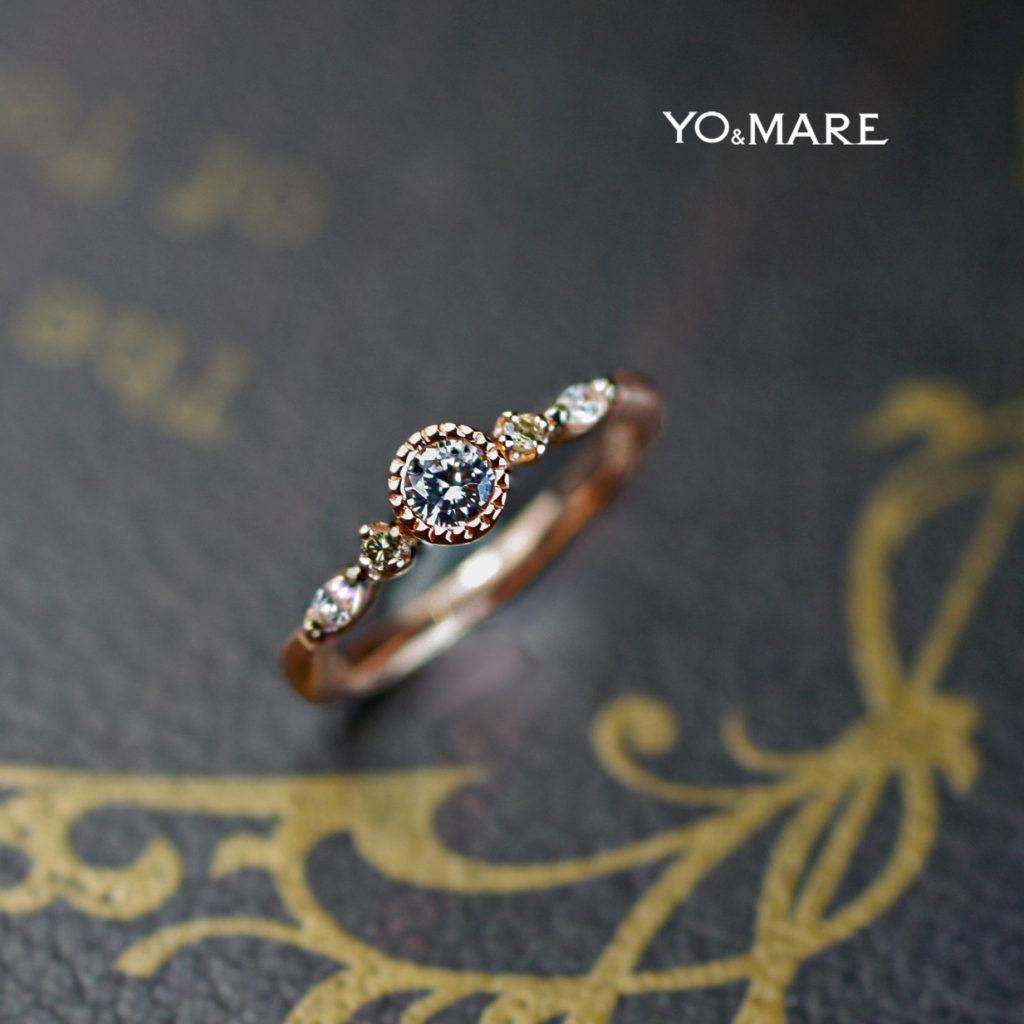 アンティークなピンクゴールドでデザインした婚約指輪オーダー作品