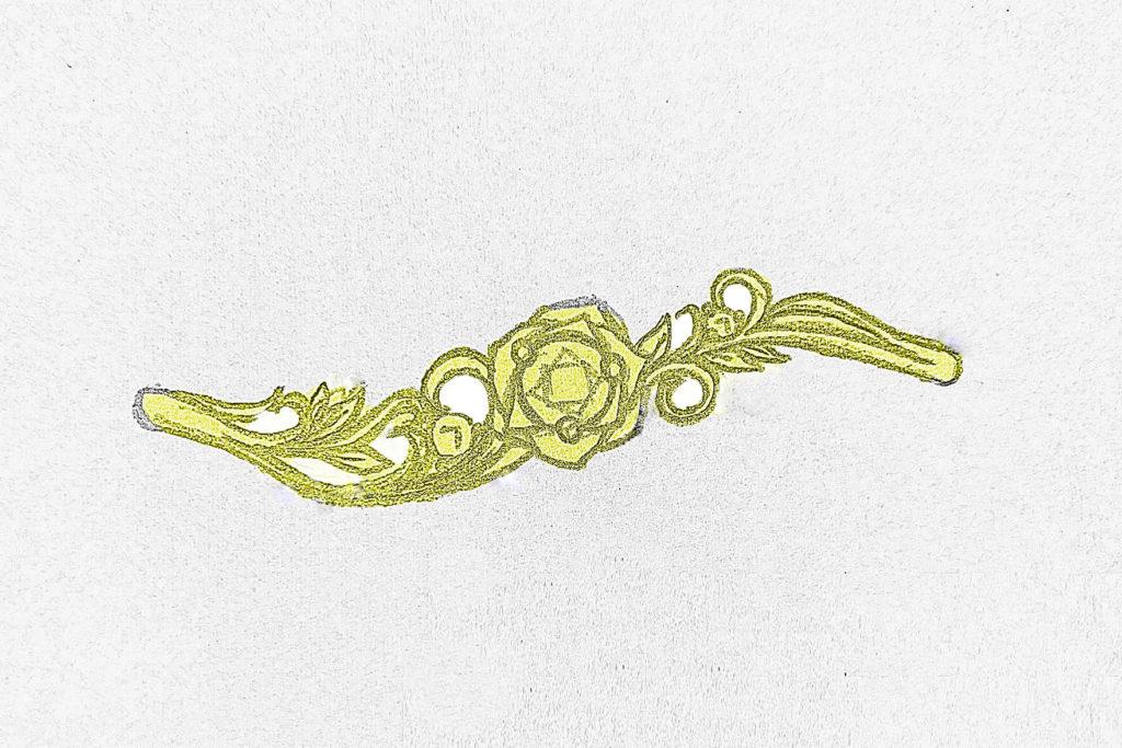 バラデザインの婚約指輪 ラフデザイン画 2