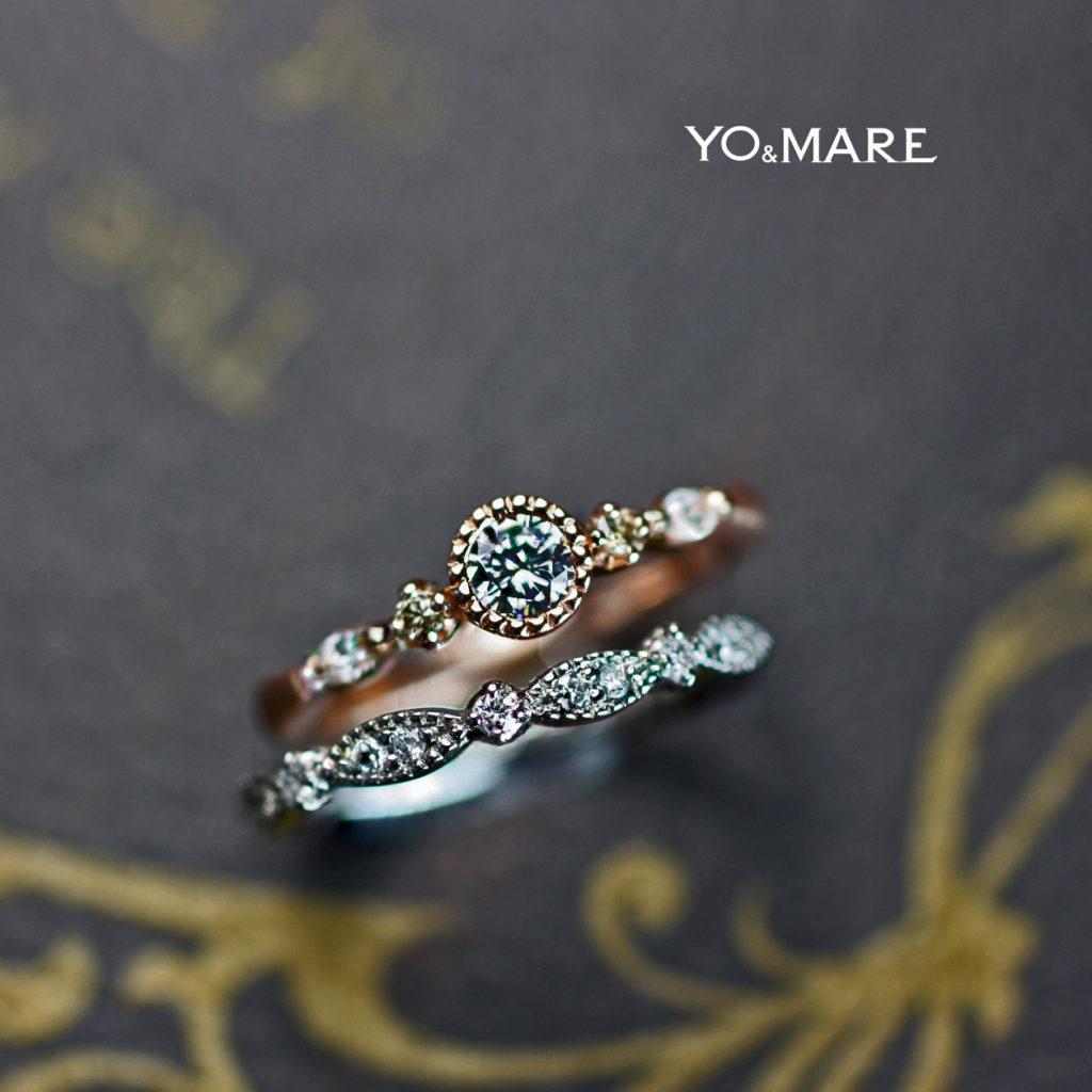 アンティークなピンクゴールドの婚約指輪とプラチナの結婚指輪をセットしたオーダー作品