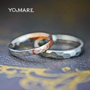 ピンクゴールドとプラチナをハーフでつないだツチメのテクスチャーの結婚指輪オーダーメイド作品