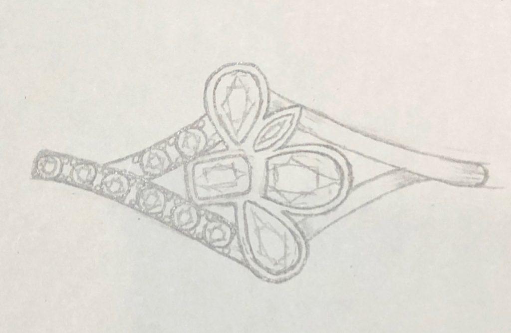 4色の宝石を使ってゴールドの指輪をオーダーデザインする