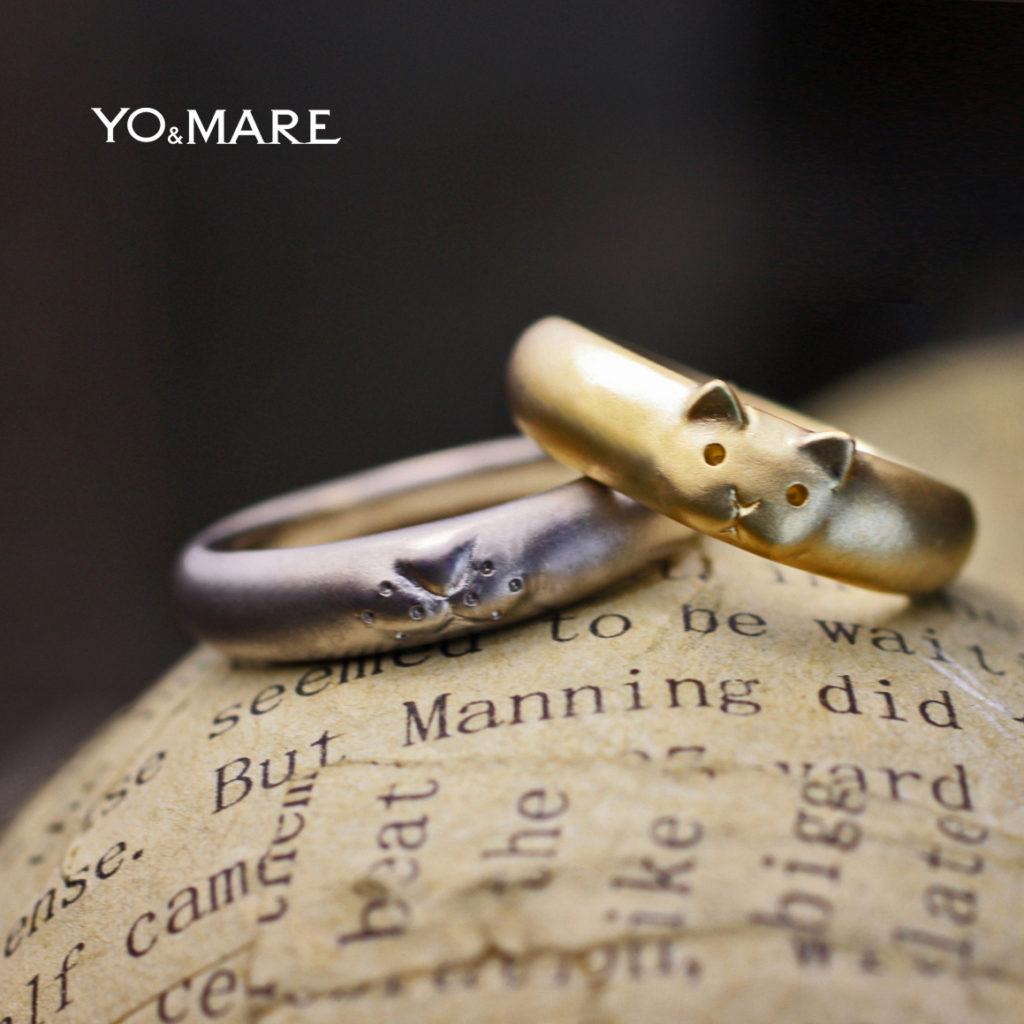 薬指にとまったフィンガーキャットをデザインしたオーダー結婚指輪