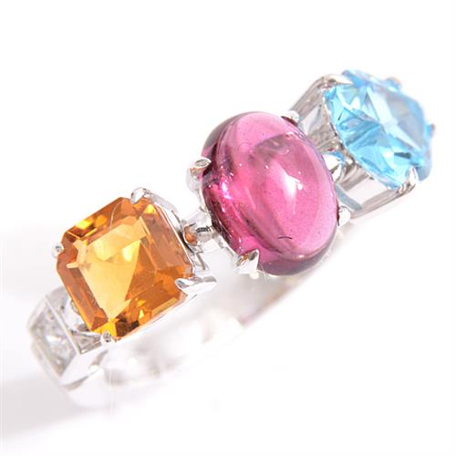 3つのカラー宝石を使ったファッションリング 1