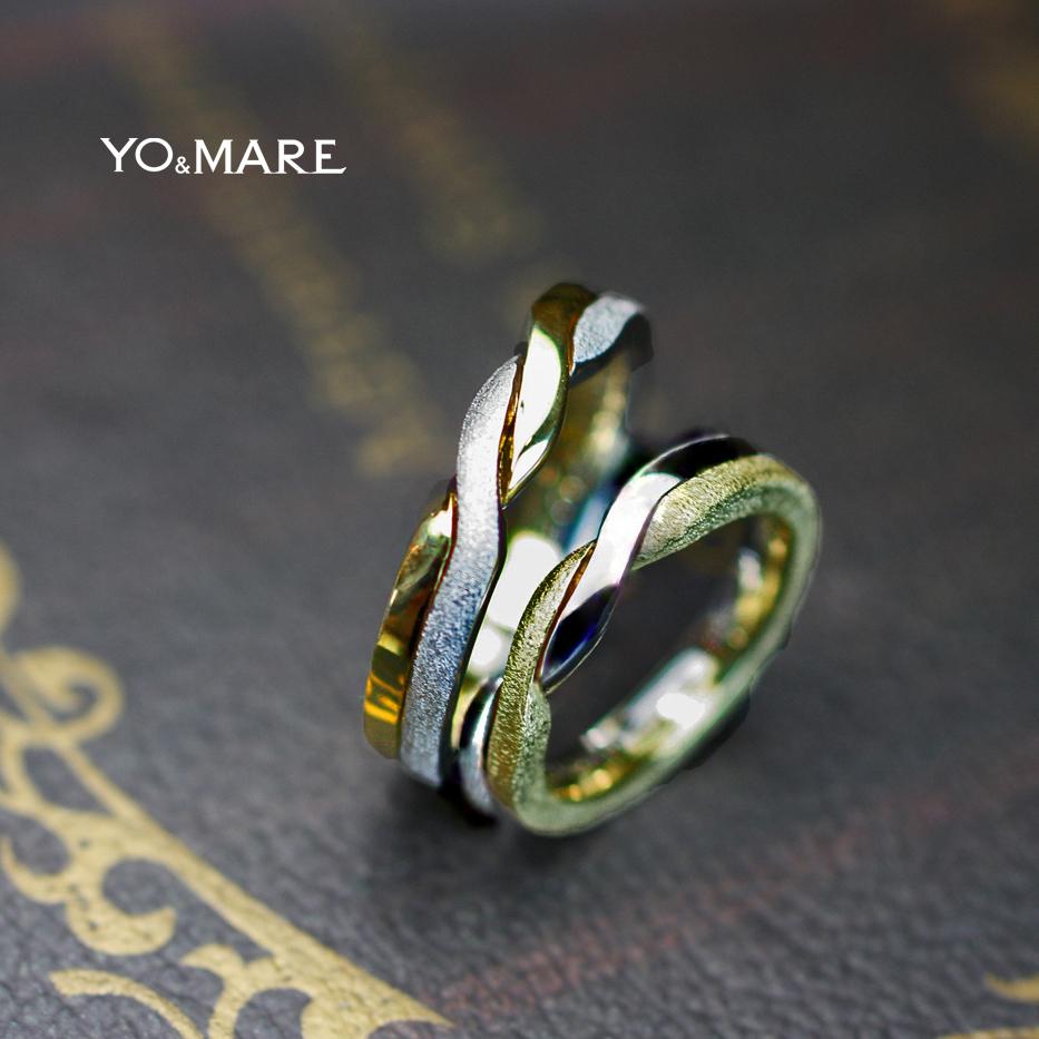 プラチナとゴールドの2色をねじったデザインの結婚指輪オーダー作品