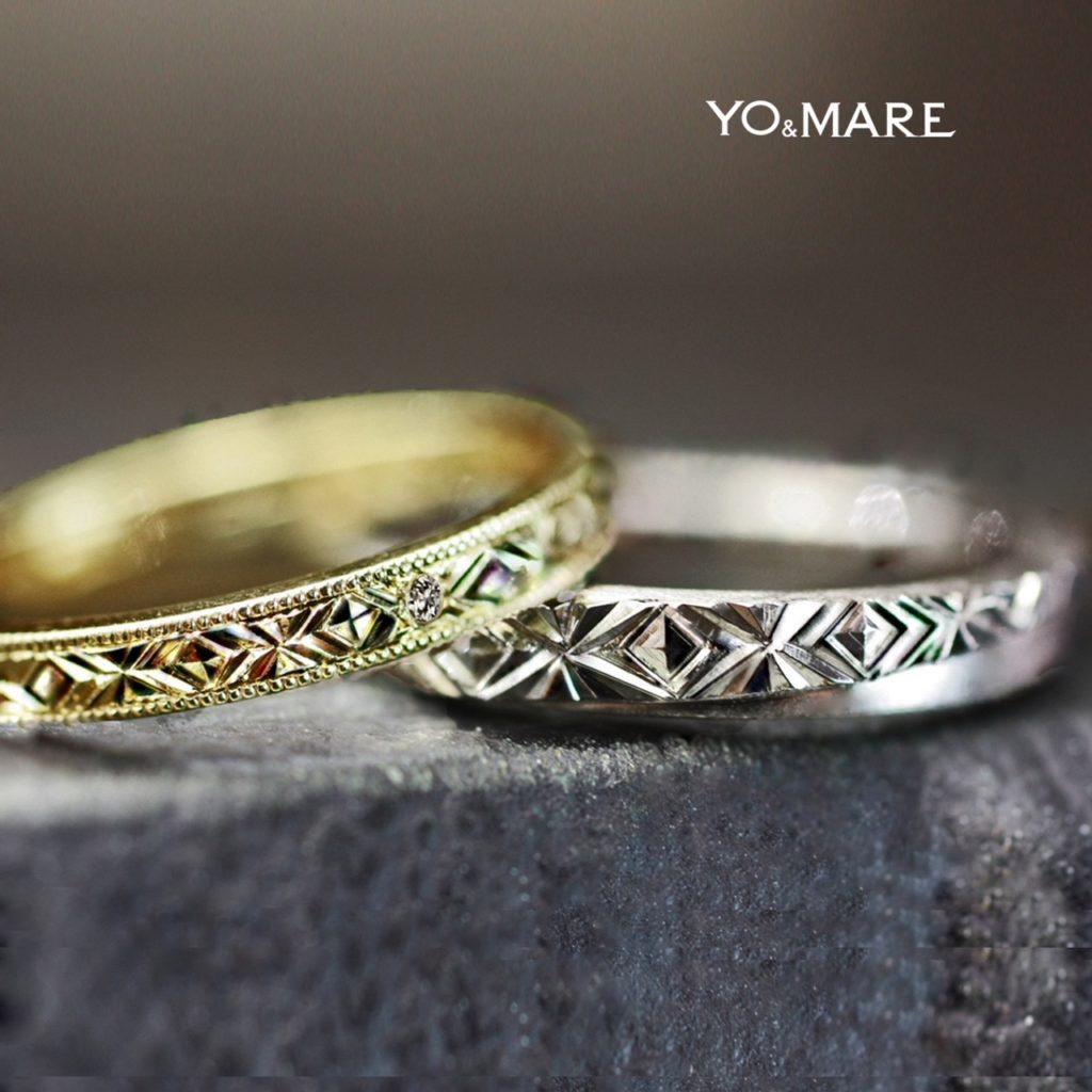 幾何学模様を幅2mmの結婚指輪に入れたゴールドのオーダーメイド作品