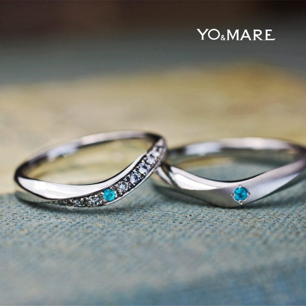 パライバをVラインに留めたオーダー結婚指輪