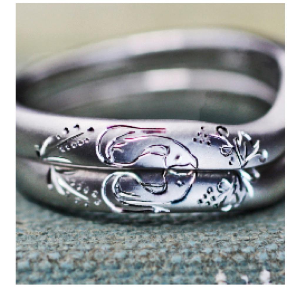 キツネと稲穂の模様を結婚指輪にオーダーする