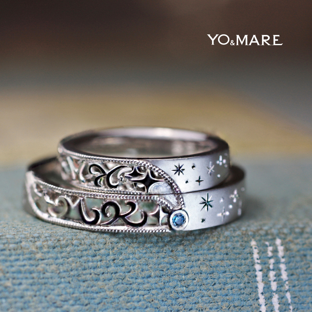 イニシャルと流星をブルーダイヤでデザインした結婚指輪オーダー作品