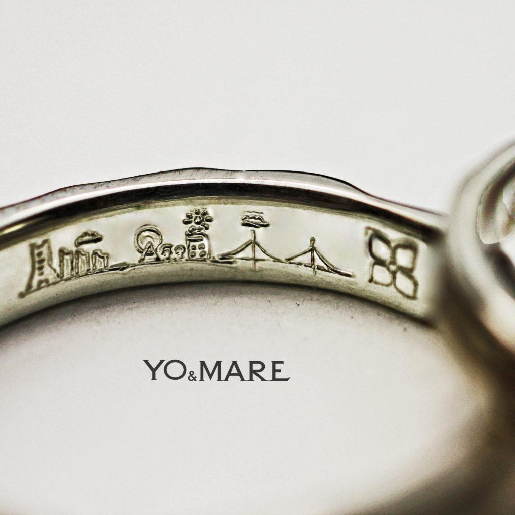 結婚指輪の内側に横浜の風景と2人の思い出を詰め込んだオーダー作品