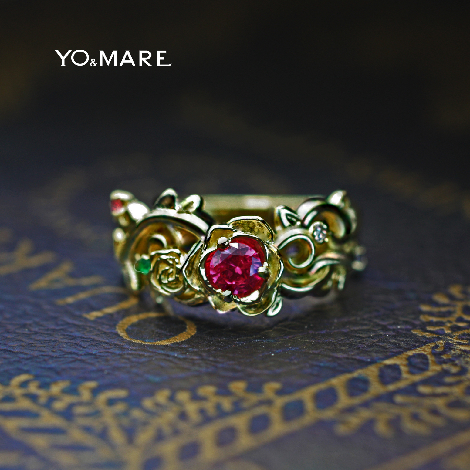 バラの婚約指輪を美女と野獣からインスピデザインしたオーダー作品